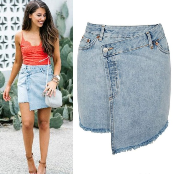 e1bbe6a249 TOPSHOP Deconstructed Wrap Denim Mini Skirt. M_5b09ed7db7f72b42b8752aea
